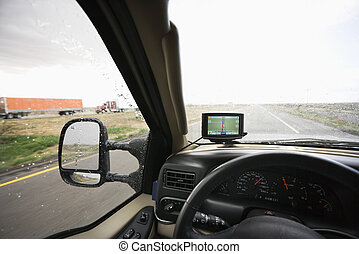 Dashboard and highway view.