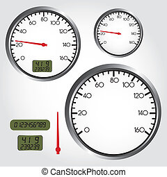 dashboard dial - silver and red dashboard dial over gray...