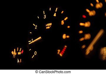 dashboard., fokusera, tachometer, fordon, pekare, devices.