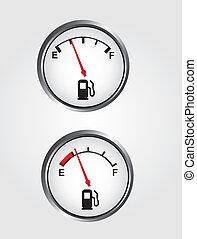 Dashboard gas gauge - silver and white dashboard gas gauge...