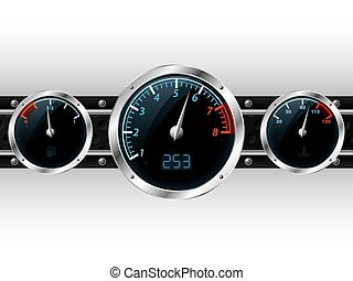 Dashboard gauges with industrial backgound - Speedometer...