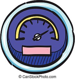 Dashboard icon in color drawing. Control panel, odometer, speedometer