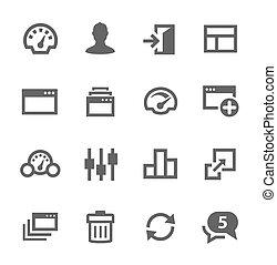dashboard, iconen, set.