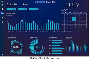 Dashboard infographic template with modern design annual statistics graphs. UI elements