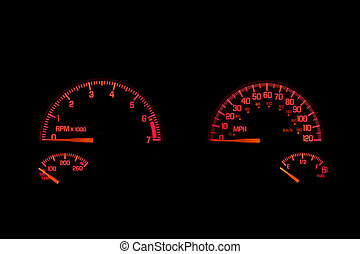 An instrument panel in the dashboard of an automobile.
