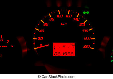 Dashboard Mile - Close up of car dashboard with speed and...