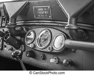 Dashboard of an old military jeep. - Dashboard of an old...