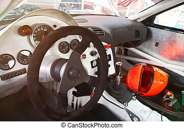 Dashboard of sport drift racing car custom from metal. Driftracing interior dashboard