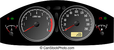 dashboard., omfattar, speedometer., accelererande