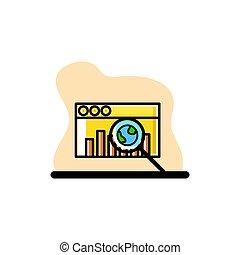 Dashboard Searching Icon Conceptual Vector Illustration Design