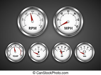 Dashboard - Vintage look silver gauge set for dashboard of...