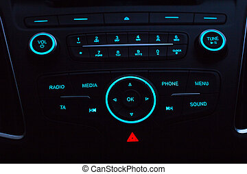 Dashboard with audio equipment in cabin of the modern new car