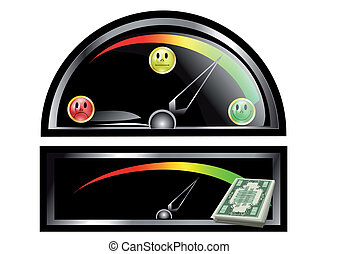 dashboard with emotion icon and money on white background
