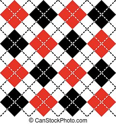 Dashed Argyle in Black and Red - Classic argyle pattern in...