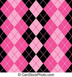 Dashed Argyle in Pink and Black