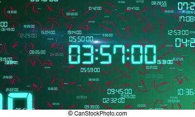 """Dashing decimal digits and clock arrows turning "" -..."