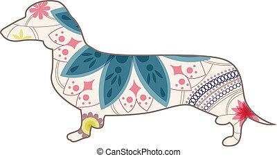 Dashshund vintage - vector illustration of dashshund vintage...