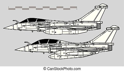 Dassault RAFALE. Outline vector drawing