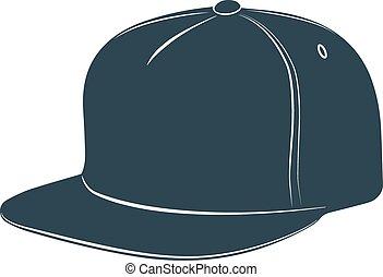 daszek, korona, dodatkowy, baseball, kłobuk, kapelusz