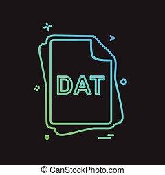 dat, vektor, design, pořadač, litera, ikona