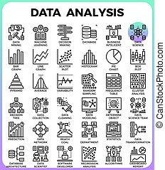 data, analyse, concept, gedetailleerd, lijn, iconen