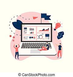 data, analyse, ontwerp, concept., grafiek, diagram, statistiek, op, draagbare computer