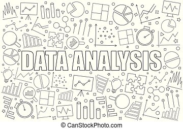 Data analysis background from line icon. Linear vector pattern.