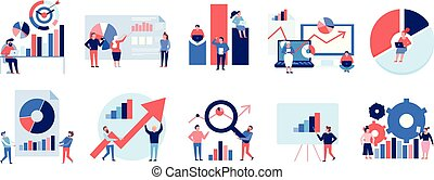 Data analytics tools techniques diagrams graphics symbols presentation analysis strategy colorful flat elements set isolated vector illustration