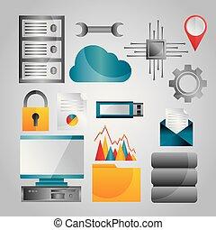data analysis database network technology settings icons set