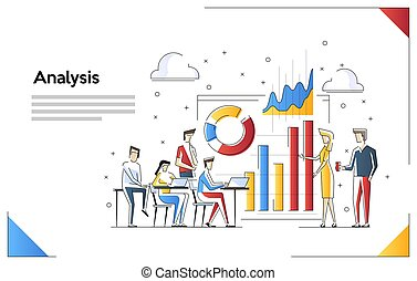 Data analysis design concept. Analysis working. Small people with data analysis graphs ansd charts. Vector illustration.