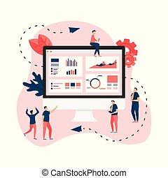 Data analysis design concept. Graph, diagram, statistics on desktop. Business concept