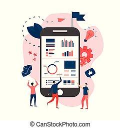 Data analysis design concept. Graph, diagram, statistics on smartphone screen. Business concept