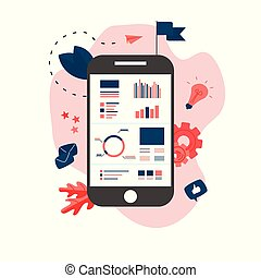 Data analysis design concept. Graph, diagram, statistics on smartphone screen. Business concept