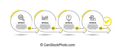 Data analysis, Financial diagram and Swipe up line icons set. Timeline process infograph. Education sign. Magnifying glass, Candlestick chart, Scrolling page. Quick tips. Science set. Vector
