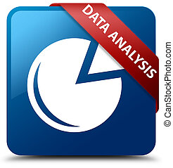 Data analysis (graph icon) blue square button red ribbon in corner