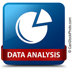 Data analysis (graph icon) blue square button red ribbon in middle
