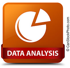 Data analysis (graph icon) brown square button red ribbon in middle
