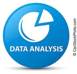 Data analysis (graph icon) cyan blue round button