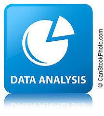 Data analysis (graph icon) cyan blue square button