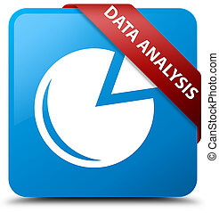 Data analysis (graph icon) cyan blue square button red ribbon in corner
