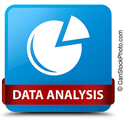 Data analysis (graph icon) cyan blue square button red ribbon in middle