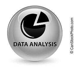 Data analysis (graph icon) glassy white round button