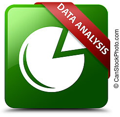 Data analysis (graph icon) green square button red ribbon in corner
