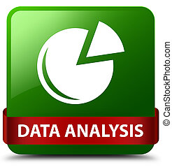 Data analysis (graph icon) green square button red ribbon in middle