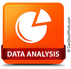 Data analysis (graph icon) orange square button red ribbon in middle