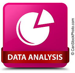 Data analysis (graph icon) pink square button red ribbon in middle