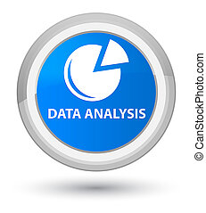 Data analysis (graph icon) prime cyan blue round button
