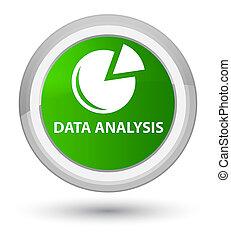 Data analysis (graph icon) prime green round button