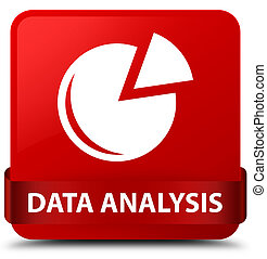 Data analysis (graph icon) red square button red ribbon in middle