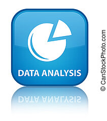 Data analysis (graph icon) special cyan blue square button